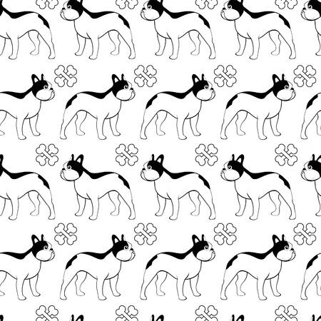 French bulldog seamless background