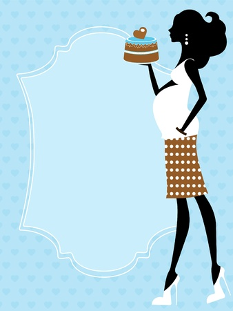 Chic pregnant  beauty holding a cake Vector