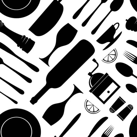 Kitchen pattern seamless Vector