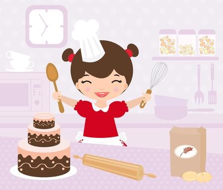panadero: Niña de hornear en la cocina