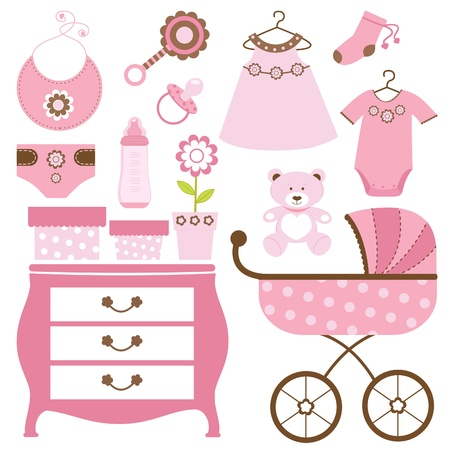 baby carriage: Baby shower pink Illustration
