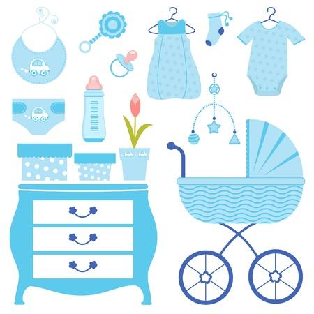 grzechotka: Dziecko prysznic niebieski Ilustracja