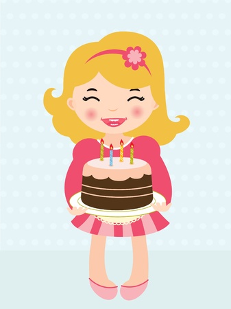Little girl holding a  Birthday cake Vector