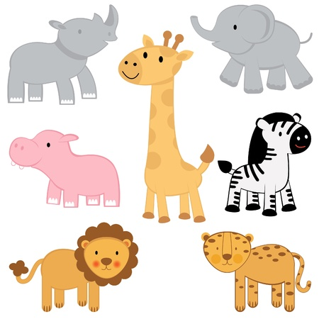 African animals set Vector
