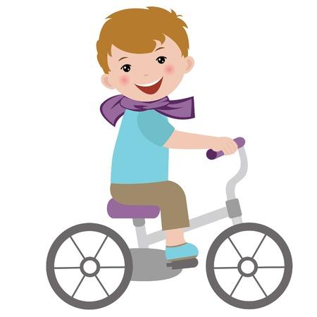 bicycle cartoon: Boy on bicycle