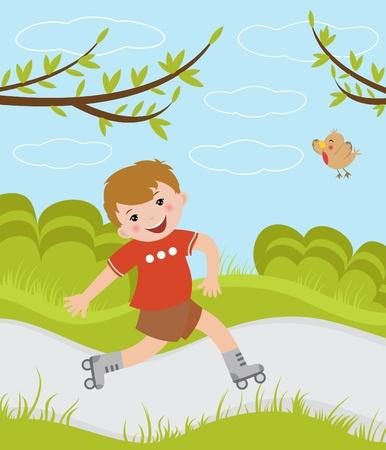 niño en patines: Boy patinaje sobre ruedas