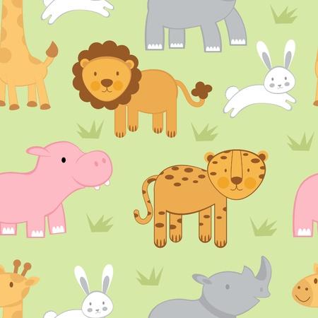 hipopotamo caricatura: Animales lindos de fondo sin fisuras