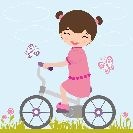girl pink: Little girl on a bicycle