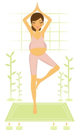 Beautiful pregnant woman practicing yoga and meditating Vector