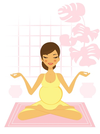 women yoga: Beautiful pregnant woman doing youga excercize Illustration