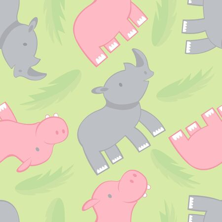 Rhino and hippo seamless pattern Vector