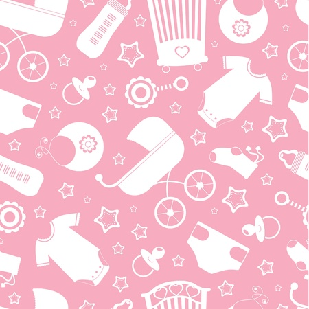 newborn baby girl: Pink baby shower seamless background Illustration