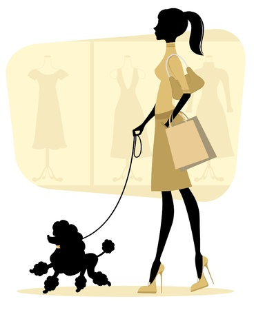 outdoor bag: Chick woman shopping with her poodle Illustration