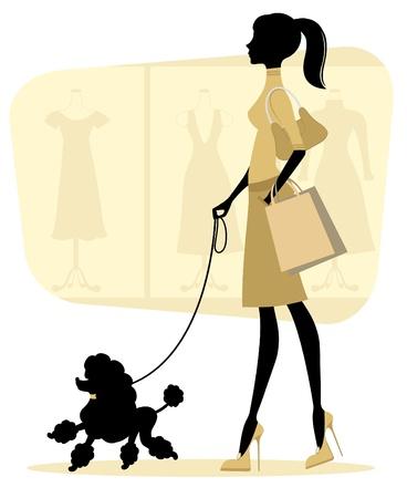 El polluelo de compras mujer con su perro de aguas