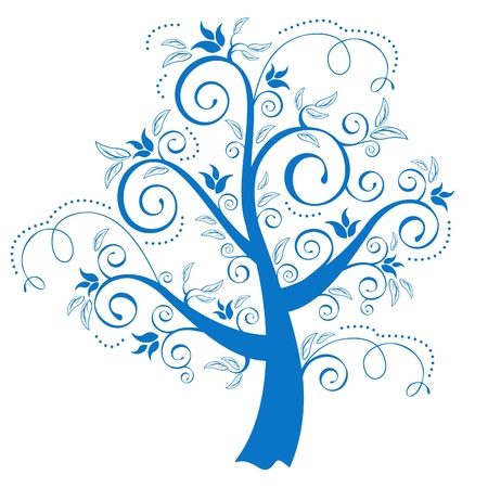 Ornamental tree with swirly branches Vector