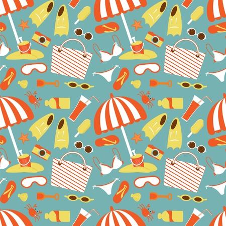 beach toys: Beach seamless pattern