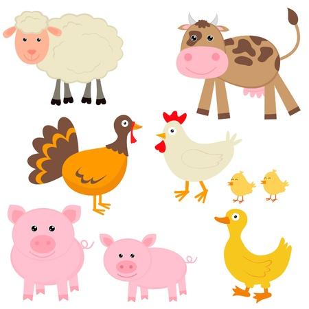 animales de granja: Animales de granja lindo Vectores