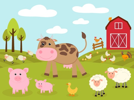 farm animal cartoon: Cute little farm Illustration