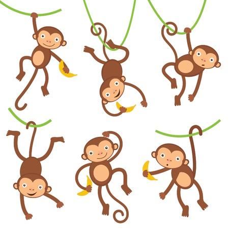 cartoon for�t: Dr�les de petits singes Illustration