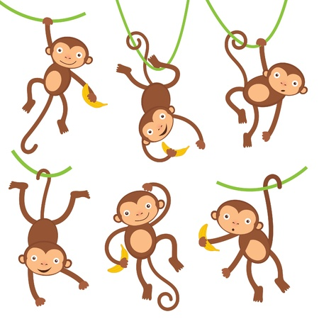 Funny little monkeys Vector