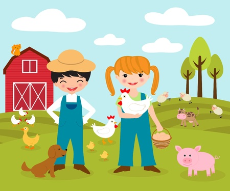 farm animal cartoon: Happy little farmers