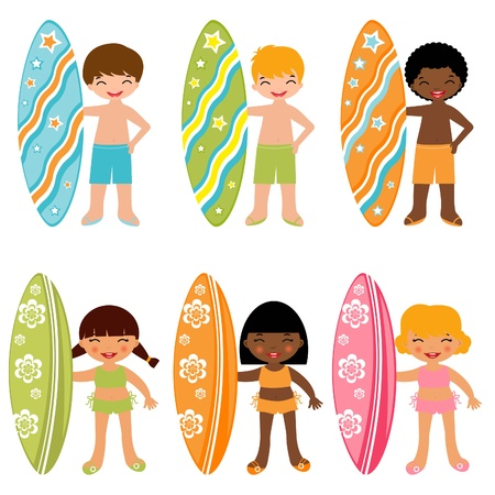 Surfing kids Vector