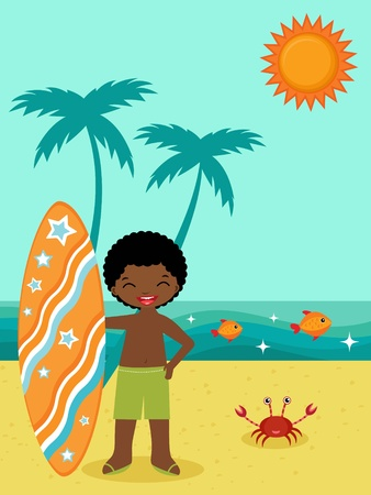 African American surfer on the beach Vector