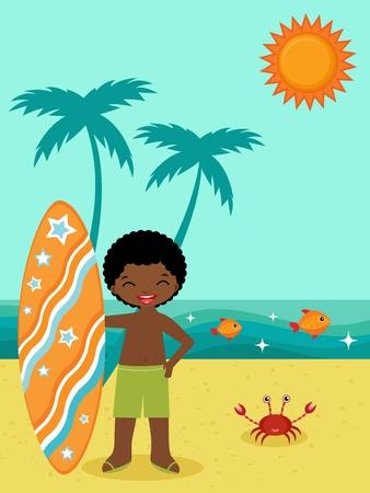 afroamericanas: �frica surfista estadounidense en la playa