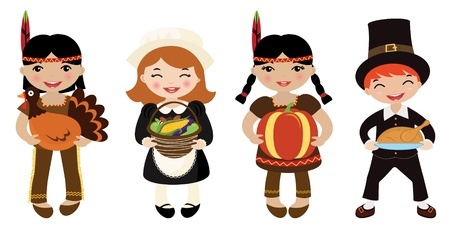 Four kids Piligrims and Indians sharing food for Thanksgiving Vector
