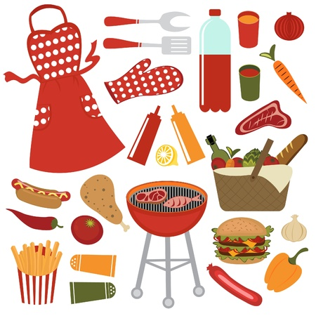 jasschort: Kleurrijke picknick collectie Stock Illustratie