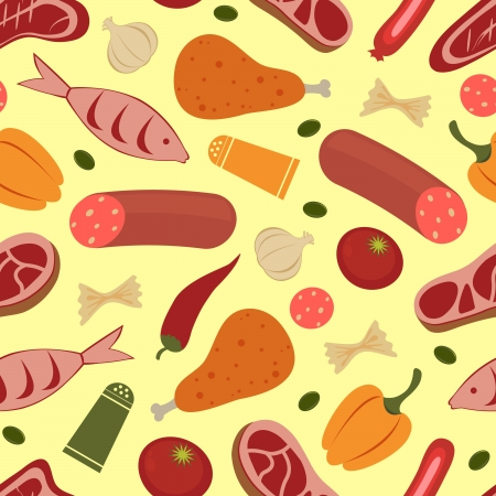 Colorful seamless food background Vector
