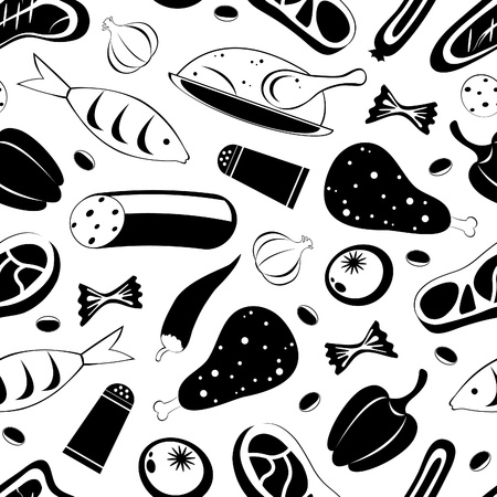 Black and white seamless food background Vector