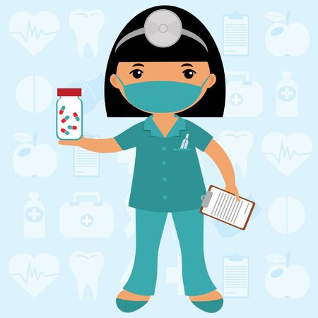 medical clipboard: Cute nurse wearing mask Illustration
