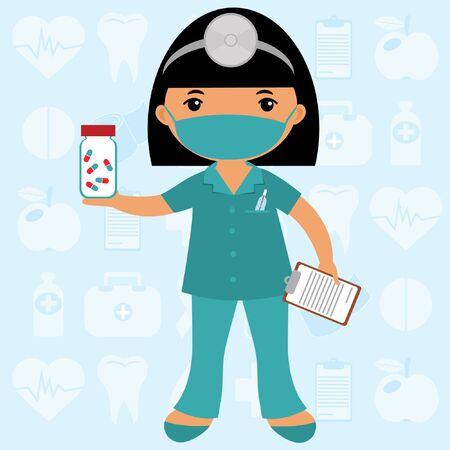 hair mask: Cute nurse wearing mask Illustration