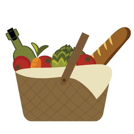 bread basket: Picnic basket Illustration