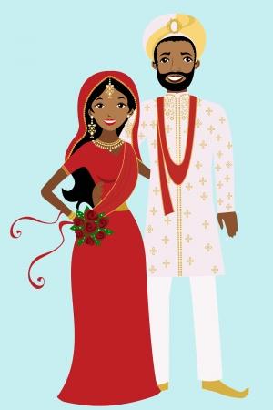 Pareja india de casarse Ilustración de vector