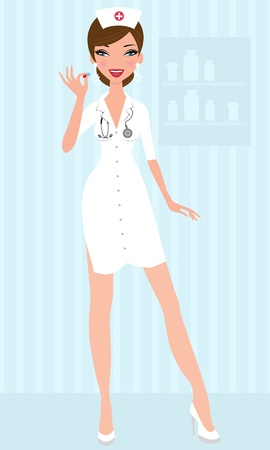 Sexy nurse holding pill Stock Vector - 13735319