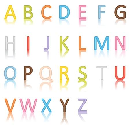 escuela primaria: Alfabeto de colores Vectores