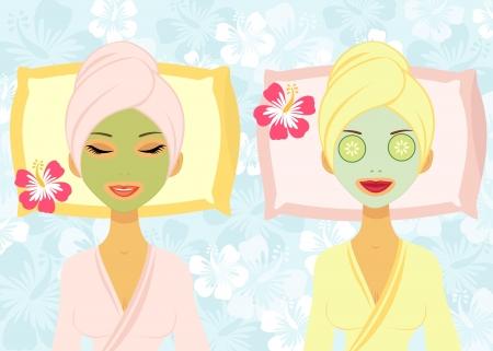 mask woman: Beauty treatment Illustration