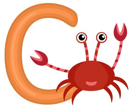 C is for crab Illustration