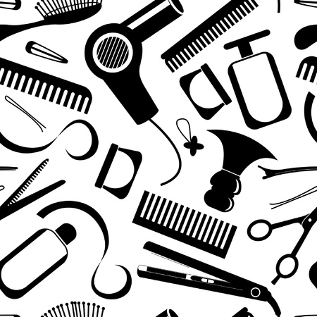 hairdressers: Hairdressing equipment seamless pattern