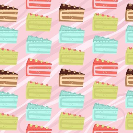 design design elemnt: Seamless cake slices background Illustration