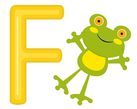 F is for frog Vector