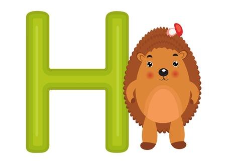 alfabeto con animales: H es para el erizo Vectores