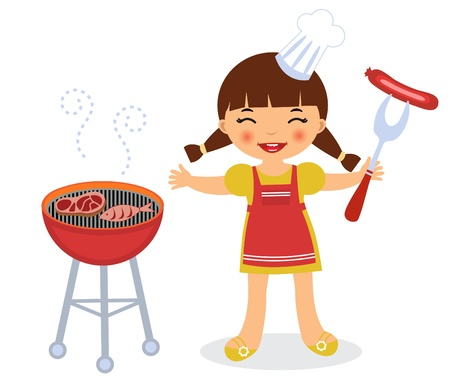 Barbecue girl Stock Vector - 14056603