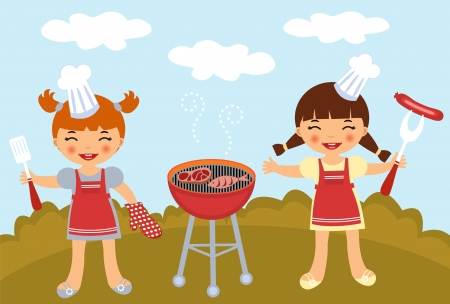 fish steak: Barbecue party Illustration