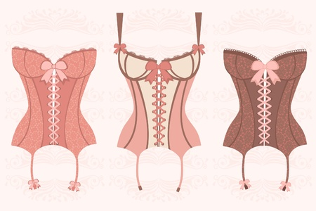 Elegant retro corsets collection Vector