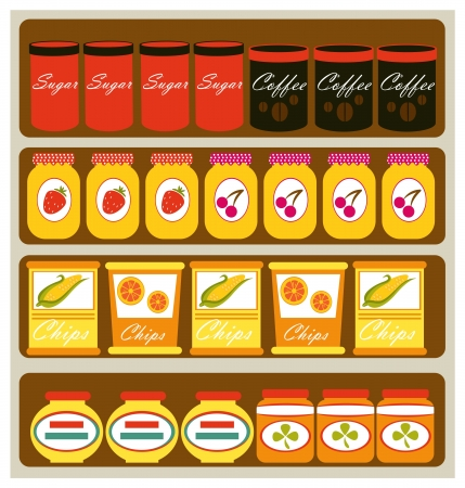 Grocery store shelves Vector