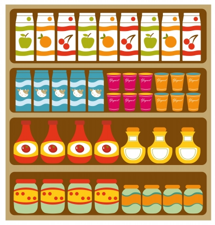 grocery store: Grocery shelves Illustration