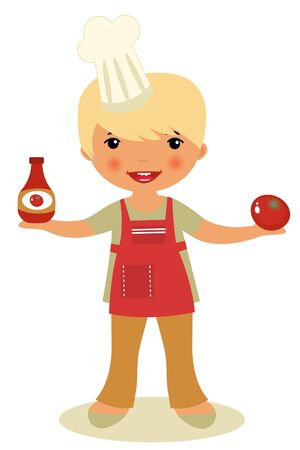 chef s hat: Cute little chef holding ketchup and tomato Illustration